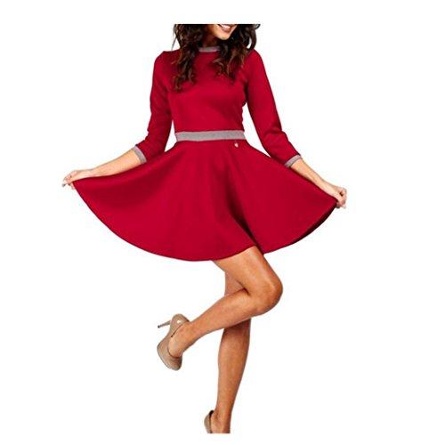 Bekleidung Longra Damen lässig Mini Partykleid schlanke Kleider Rock Prinzessin Kleid Rock Kleid elegante cocktailkleider Red