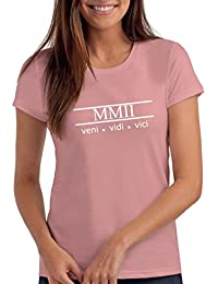 """Womens 2002 """"Veni Vidi Vici"""" 16th Birthday T Shirt Gift with Year Printed in Roman Numerals"""