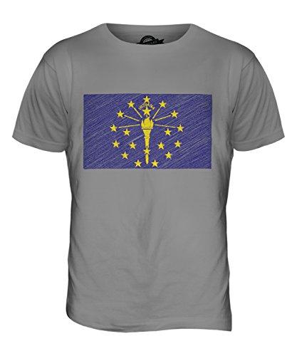 CandyMix Bundesstaat Indiana Kritzelte Flagge Herren T Shirt Hellgrau