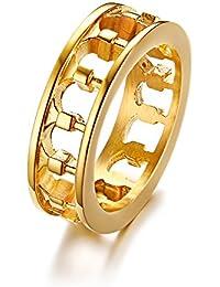 Vnox Roman Column Hollow Ring 18K Chapado en Oro de Acero Inoxidable Retro Ancient Greek Rome Colosseum Ring para Hombre