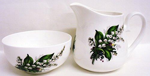 giglio della valle crema/latte e zuccheriera porcellana Bone China Tea set decorato a mano in (Bone China Crema)