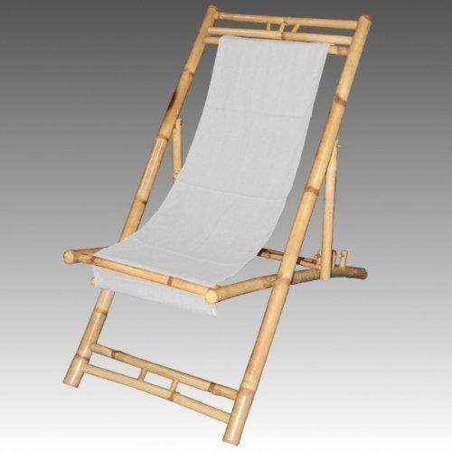 Tumbona de Bambú Color Beis Silla de Playa
