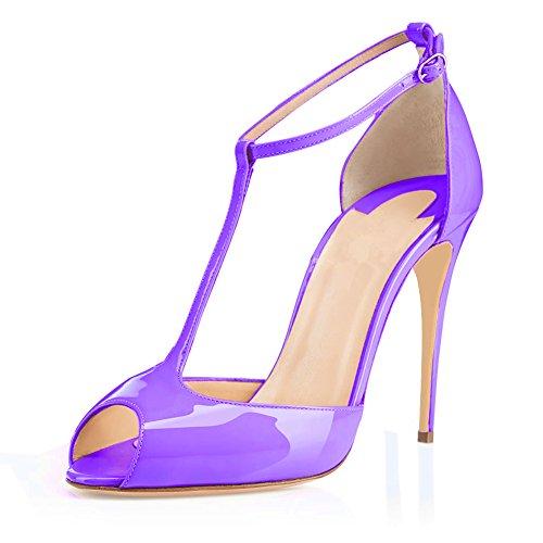 T Edefs Schuhe Damen Stiletto spangen T Mit Violett Knöchelriemchen Heels Pumps strap 55U0rdq