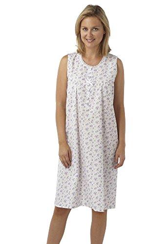 Damen Marlon Poly Cotton Sleeveless Nachthemd Nachthemd MN16 Größe 10-30 Lilac