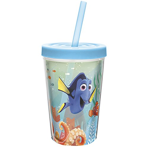 (13 oz. Insulated Tumbler With Straw, Finding Dory) - Zak Designs Insulated Tumbler with Screw-on Lid and Straw featuring Finding Dory Graphics, Break-resistant and BPA-free Plastic, 380ml