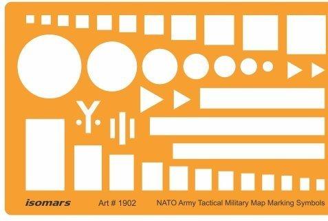 FineArt NATO Truppen Bewegung Armee taktische militärische Karte Kennzeichnung Symbole Zeichnung Vorlage Schablone (Militärische Schablone)