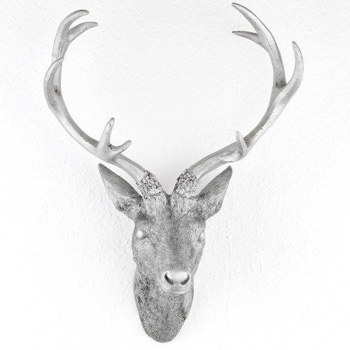 Hirschgeweih Hirschkopf Geweih 10-Ender in Silber, Metall-Optik 30 x 40 cm, Figur Skulptur Deko
