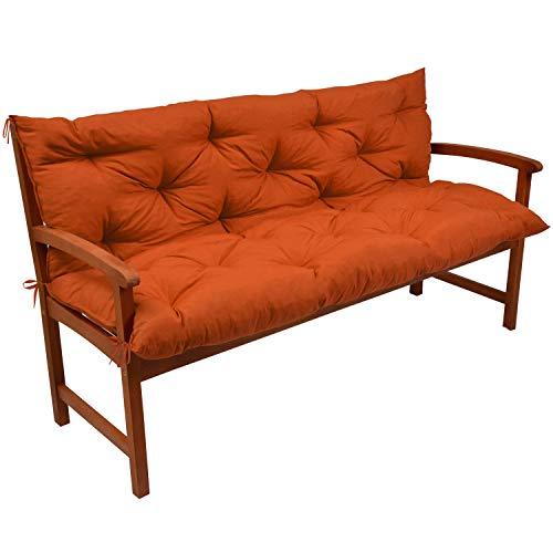 Beautissu BankAuflage mit Oeko-TEX Flair BR ca 150x50x50cm bequemes Bank Polster & Rücken-Kissen als Gartenbank Auflage mit Oeko-TEX Orange - weitere Farben & Größen