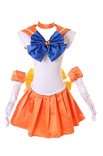 H-6003 Venus Crystal Sailor Moon Orange Weiß Cosplay Kleid Handschuhe Set dress Kostüm costume Kawaii-Story (M) (Sailor Kostüm Venus)