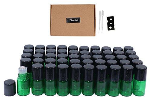 Minibotellas de vidrio de 2 ml (5/8 Dram) con 50 paquetes de botellas de perfume, rollo de bola, aceites esenciales rellenables, rollo de botellas de perfume, abrelatas y cuentagotas incluidos.