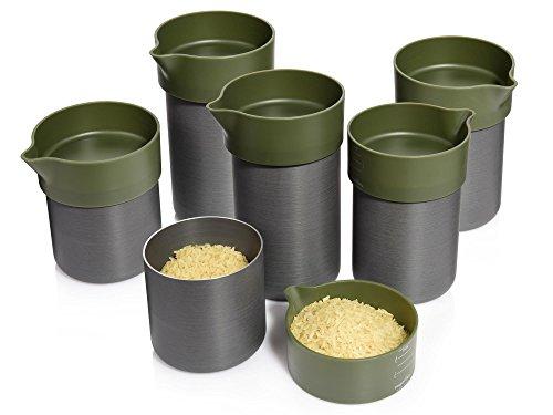 Royal VKB Aufbewahrunsgbecher aus Aluminium mit Messskala 6er Set | 3 verschiedene Größen L, M, S | Vorratsbecher mit Deckel aus Kunststoff | Aufbewahrung und Abmessen in Einem (2 Tasse Glas Vorratsbehälter)