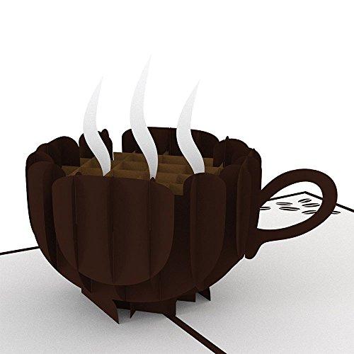 uniqueplus Erfrischende Tasse Kaffee Thema Creative 3D Pop up Grußkarte Kirigami Geschenk Karten für Einladung, Verabredungen, Geburtstag, Hochzeit, Jahrestag, Paar, Muttertag, Vatertag, Thank You