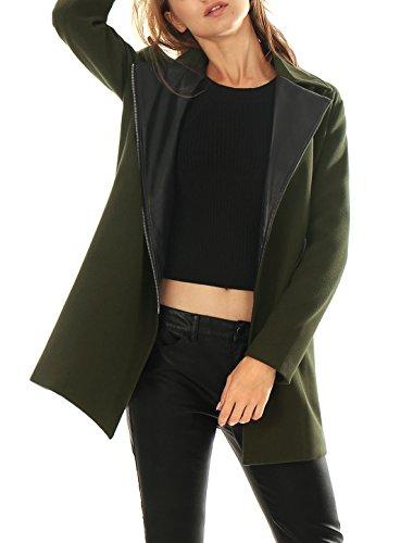 Allegra K Damen Eingekerbte Revers Gekerbten Reißverschluss Frontseite Mantel, XL (EU 48)/Gruen