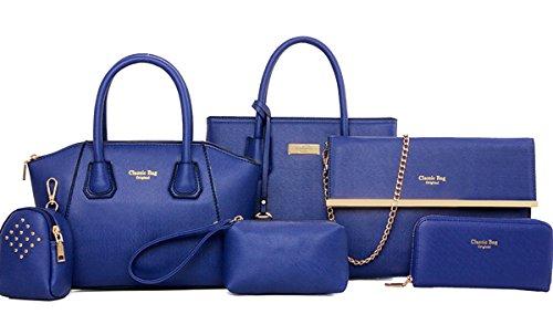 SaiDeng Donne 6 Pcs Borsetta Spalla Messaggero Borsa Portafoglio Blu