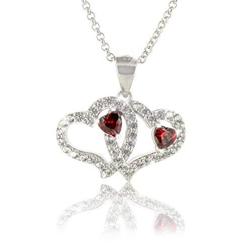 PAVEL´S Damen Herzkette \'Liebesherzen\' 42cm Silber 925 für Verliebte, Paare oder für die Freundin, Herz in Herz mit Zirkonia inkl. Schmuckbox + Echtheits-Zertifikat