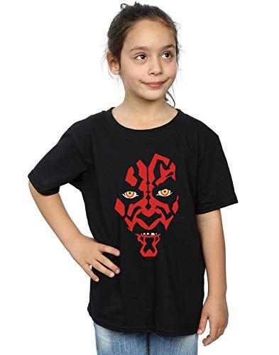 Star Wars Niñas Darth Maul Face Camiseta Negro 7-8 Years