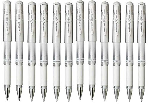 Uni Ball White Signo Pen Broad Metallic Gel Ink Rollerball Metal 1mm Tip Nib 0.65mm Line Width With Rubber Grip UM-153 (Pack Of 12)