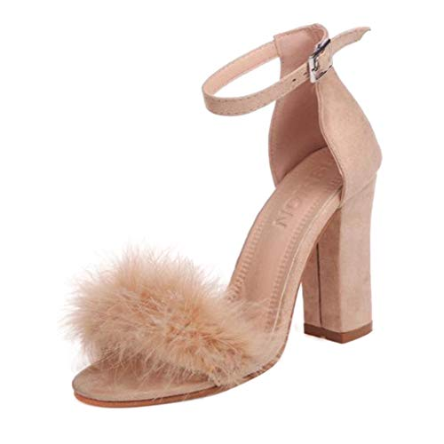 High Heels Sandaletten für Damen/Dorical Frauen Sommer Sandalen Blockabsatz High Heel Sandaletten Feder Adorn Schnalle Ankle High Heels Offene Spitze Schuhe Ausverkauf(Rosa,40 EU)