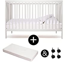 Babybett - Kinderbett- Kombi-Kinderbett - moKee - weiss - mit Matratze - mit Rollen - ökologisch