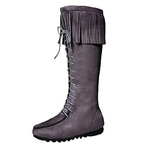 Schnürboots Stiefel Damen,Elecenty Frauen Stiefeletten Mit Quaste Hohe Boots Flache Winterboots Lederstiefel Lange Schuhe Schnürstiefel Kampfstiefel