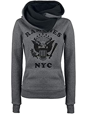 Ramones NYC Eagle Jersey con Capucha Mujer Gris/Negro