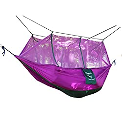 Magideal Double Hammock Tree 2Person Patio Bed Swing Outdoor with Mosquito Net Purple