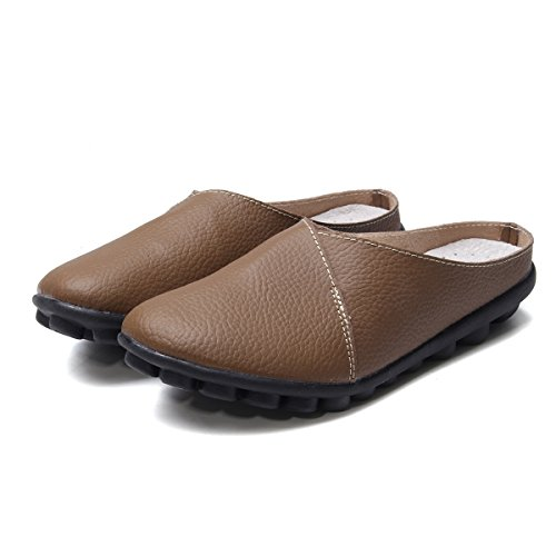 Gracosy Unisex Hausschuhe, Herren Damen Pantoffeln Leder Slipper Sandale Sommerschuhe Slip-on Bequem für Sommer Soft-Fußbett Clogs Schwarz 43