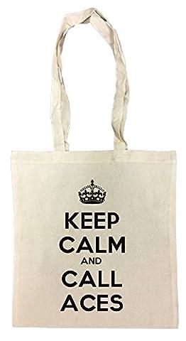 Keep Calm And Call Aces Sac à Provisions Plage Coton Réutilisable Shopping Bag Beach Reusable