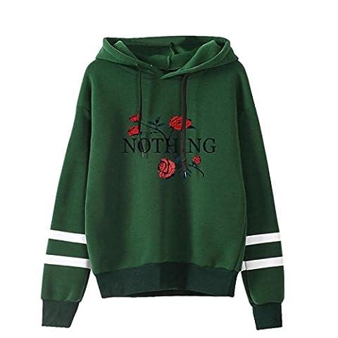 Frauen Hoodie Sweatshirt, Hmeng Damen Stickerei Applique Hoodie Pullover Verstellbare Bandage Langarm Kapuzenpulli Tops Bluse (XL, Grün)
