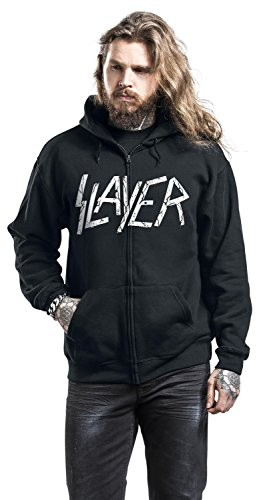 Slayer Skull & Bones Sweat à capuche zippé noir Noir