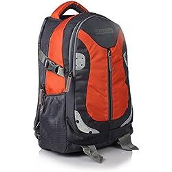 Suntop Neo 9 26 Ltrs Grey & Orange Checks Unisex Casual Backpack