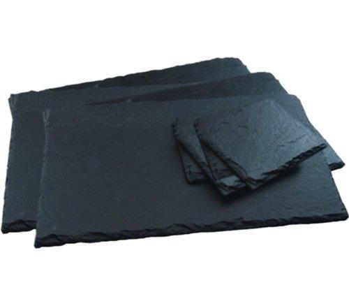 Get Goods Lot de 12 sets de table carrés et de dessous de verre en ardoise naturelle