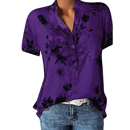 POPLY Frauen Große Größe Top Damen Drucktasche Kurzarmbluse Bohemian Lässige Shirt Plus Size Taste Hemd(Purple,M) (Mädchen Plus Size Jacken)