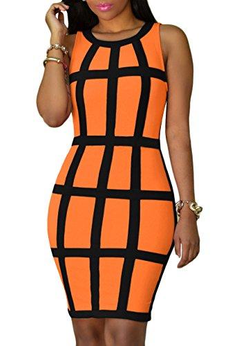 YMING Damen Kleid Business Festliches Kleid Knielang Kleid Cocktailkleid Partykleid Ärmellos,Neon Orange,M 38