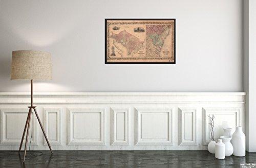 New York Map Company  1855 Karte Mittlere Atlantik, Bezirk von Kolumbien, Washington, Colton's Georgetown und die Stadt Waage, historischer antiker Vintage-Nachdruck, fertig zum Rahmen. (Vintage New-york-city-map)