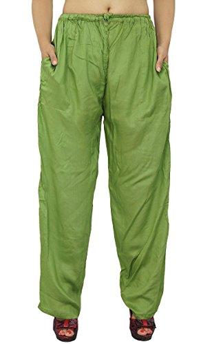 Rayon Pyjamas Pantalons Tsiganes Pantalons Bohême Pantalons D'Été Vert