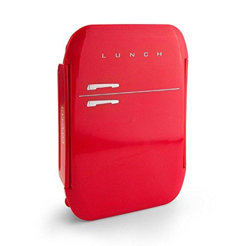 MUSTARD Bento Box I Lunch Box I Boîte à déjeuner avec 3 compartiments en forme d'amplificateur I Boîte de conservation alimentaire - Frigo Box Rouge
