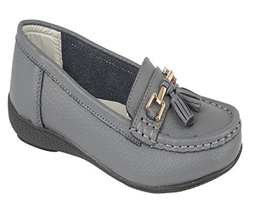 Damen Wohnungen Leder Deck Boot Loafer Mokassins Driving Schuhe mit Bar & Quasten Größe UK 3