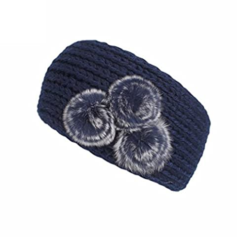Huihong Frauen Stricken Stirnband Handgefertigt Halten Warmes Hairband (Marine) (Professionelle Styling Bürste)