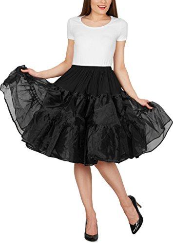 Black Butterfly 25″ Rockabilly Petticoat 1950er-Jahre Komplett aus Satin-Organza Tellerrock (Schwarz, EUR 36 – 42) - 4