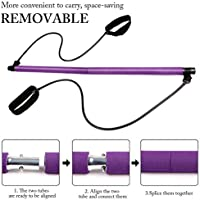 Kit de barre de pilates portable avec bande de résistance, longue barre de résistance, bâton de yoga, barre d'exercice pour musculation violet