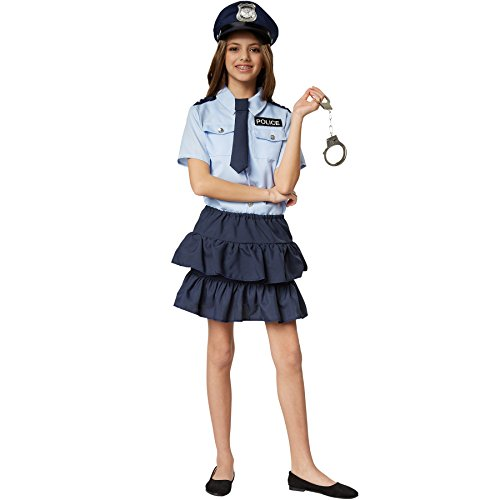 Mädchen Polizist Kostüm - dressforfun 900268 - Mädchenkostüm Police Girl, kurzärmeliges Hemd mit Police-Aufnäher und zweistufig geschnittener Minirock, inkl. Krawatte mit Gummizug (128 | Nr. 301481)