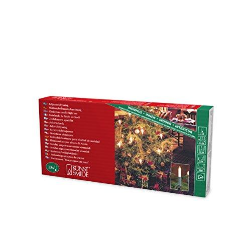 Konstsmide 1120-000 - Guirnalda LED para el árbol de navidad (velas de luz, 15 luces transparentes, 230 V, para interiores)