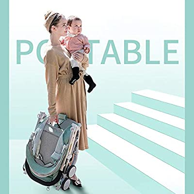 XYL Silla de Paseo Plegable Doble para bebé/niño/bebé con una combinación de Canasta de Almacenamiento Grande Arnés de Cinco Puntos Tragaluz Grande Cochecito cómodo,Verde
