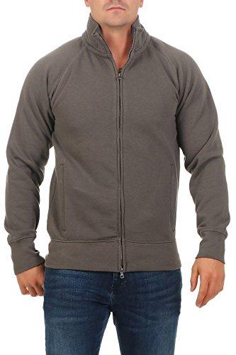 Herren Sweatjacke ohne Kapuze Zip-Jacke mit Kragen, Größe:XL, Farbe:Anthrazit