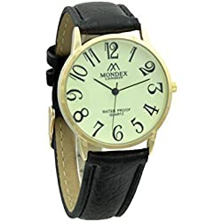 Unisex Gold Plated Mondex / Azaza / MABZ PU Leather Strap Watch (Black Strap With Luminous Dial)