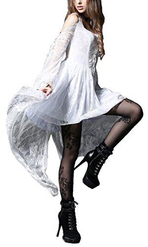 Damen Long Bluse Hemd-Kleid Rüschen Festlicher Langarm Sommermantel Weiß M-36 (Rüschen Vorne Kurz)