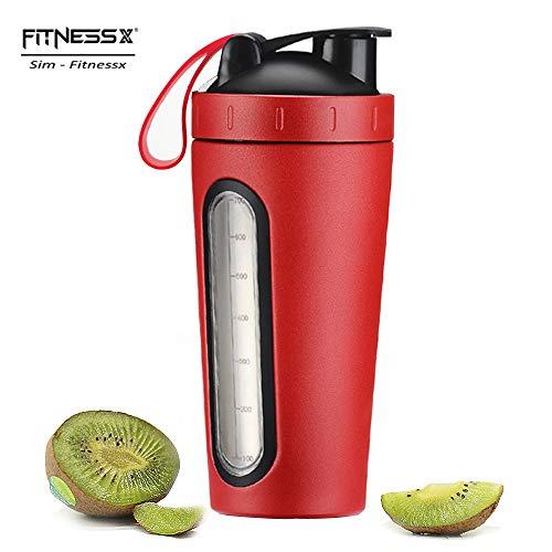 PLC020 700ml Edelstahl Protein Shaker Sport Fitness Shaker Eiweiß | Protein Eeiweiß Shaker Becher mit Kugel (Rot-700ml)