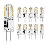 Befurglor G4 LED Lampen, 1.2W Ersatz für 10W Halogen, 120LM, Warmweiß 2900K, G4 led Stiftsockel lampe, AC/DC 12V, 360°Abstrahlwinkel, Nicht Dimmbar, 10er Pack