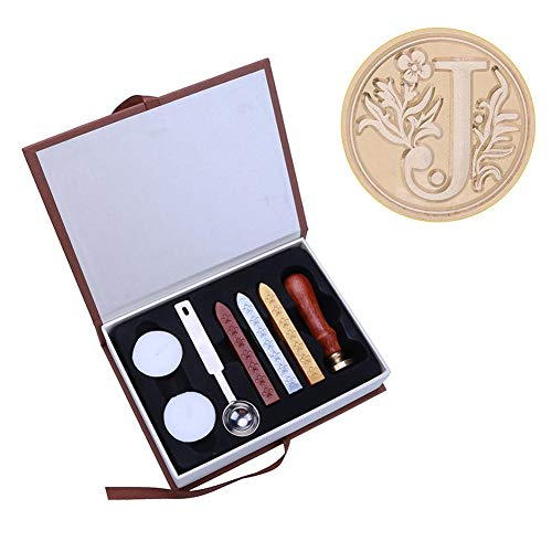 4eb6163b6ff4 Wax Seal Stamp Kit Ancient English Alphabet Letter Metal Seal Wax Stamps  Sticks Candles Set - J